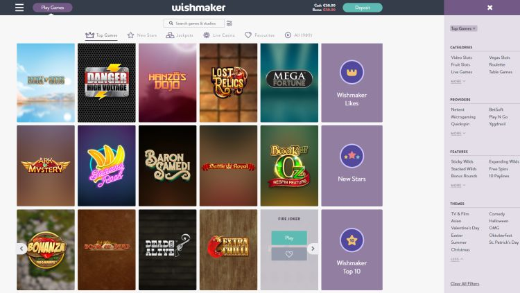 Wishmaker casino review games