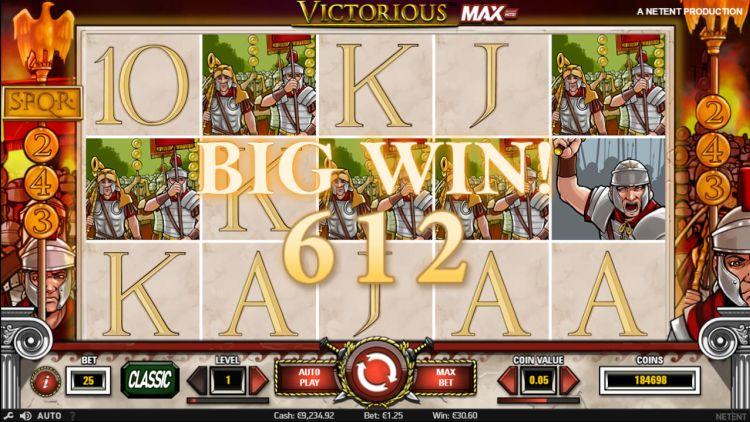 Victorious Max netent slot review big win