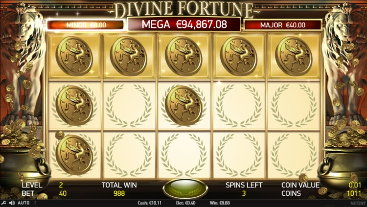 Divine fortune Netent progressive jackpot bonus minor win