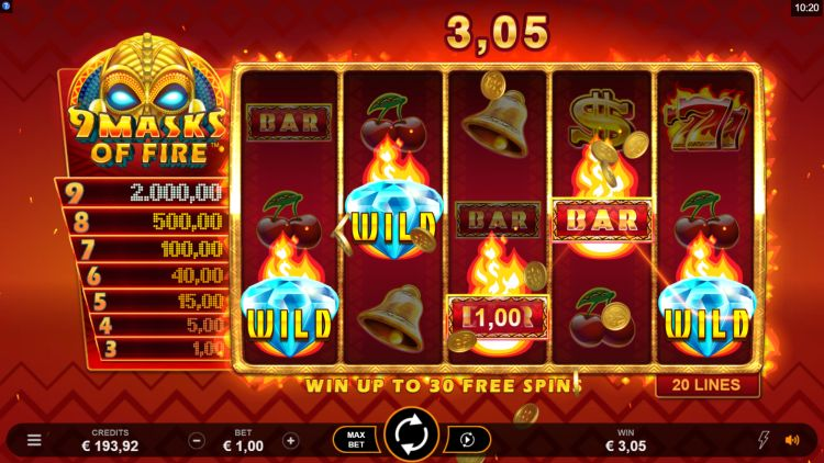 9 masks of fire slot review microgaming