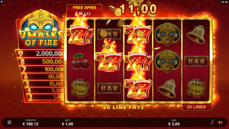 9 masks of fire microgaming free spins win
