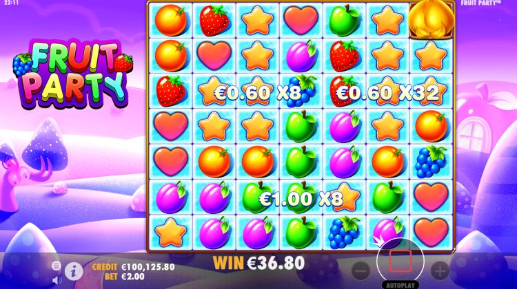 Fruit Party slot free spins win