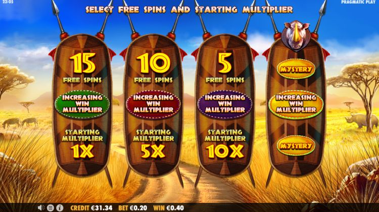 Great Rhino Megaways slot review bonus choice