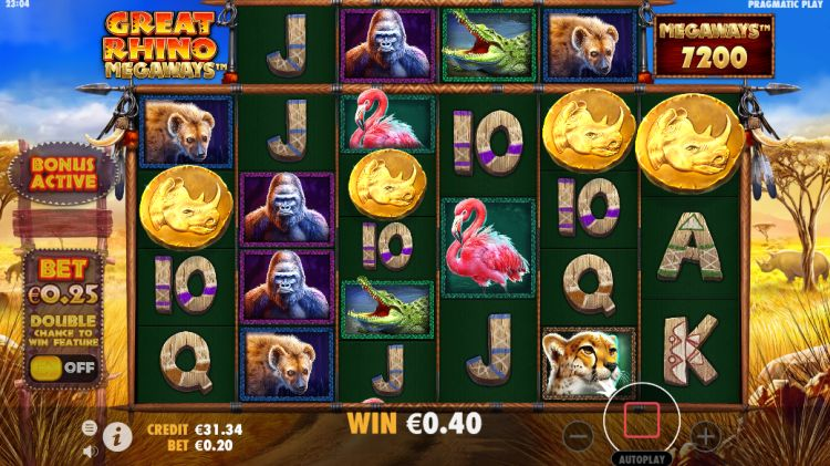 Great Rhino Megaways slot review free spins trigger
