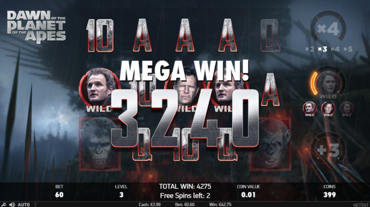 Planet of the Apes netent gokkast dawn free spins mega win