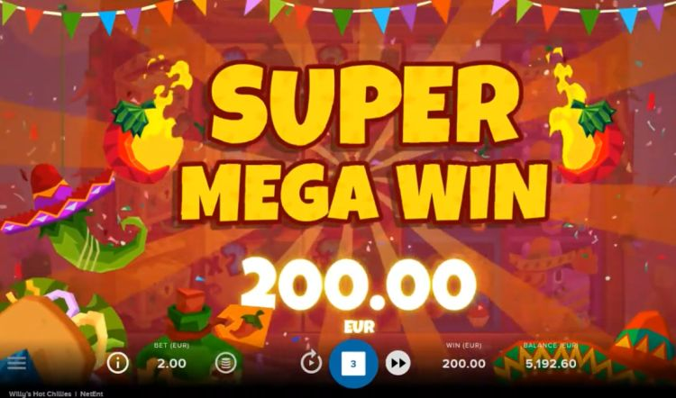 Willy's Hot Chillies slot netent super mega win