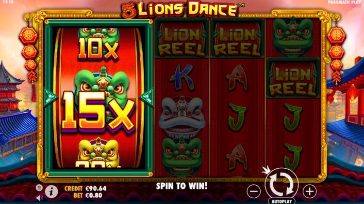 5 lions dance slot feature win