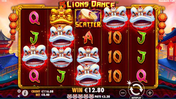 5 lions dance slot review pragmatic play big win