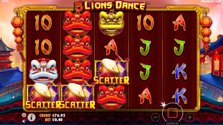 5 lions dance slot review pragmatic play bonus trigger