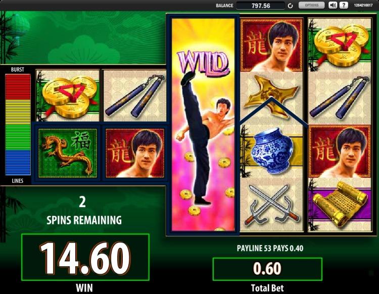 Bruce Lee slot WMS bonus big win