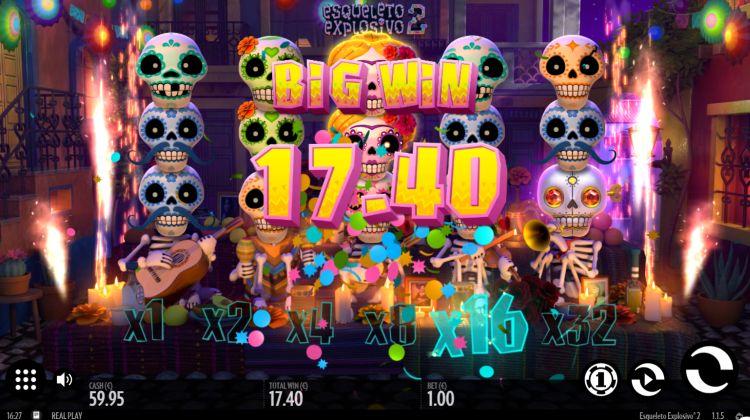 Esqueleto Explosivo 2 thunderkick slot big win