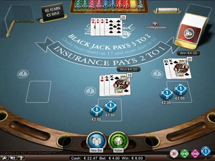 blackjack pro low limit netent
