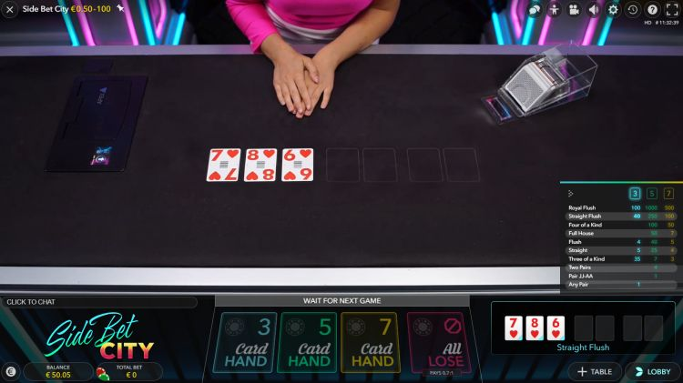 side-bet-city-live-casino-review-evolution-gaming-straight-flush