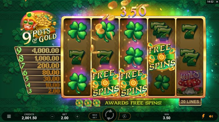 9 pots of gold slot review microgaming free spins trigger