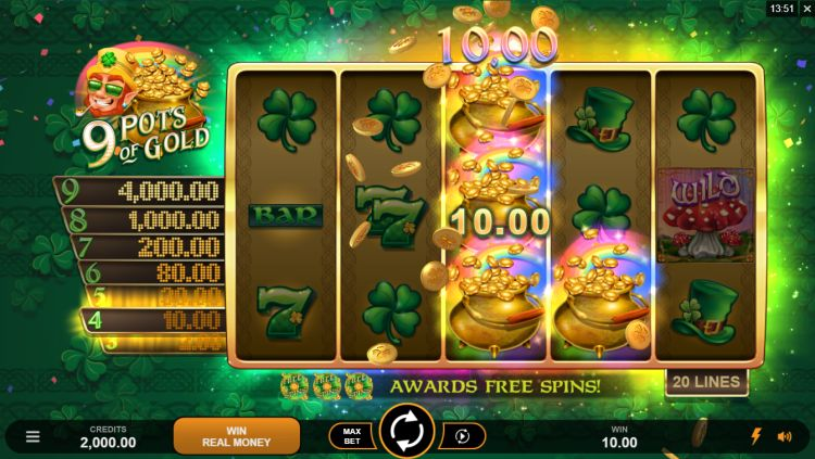9 pots of gold slot review microgaming win