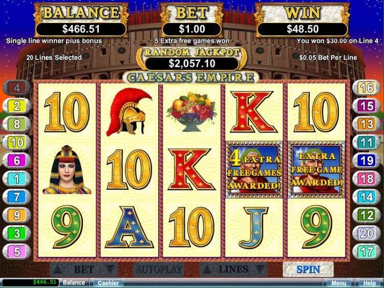 Caesars Empire pokie review free spins bonus
