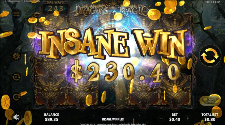Dragons and magic slot review stakelogic insane win