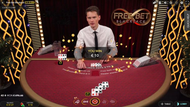 Free Bet Blackjack win Evolution Gaming