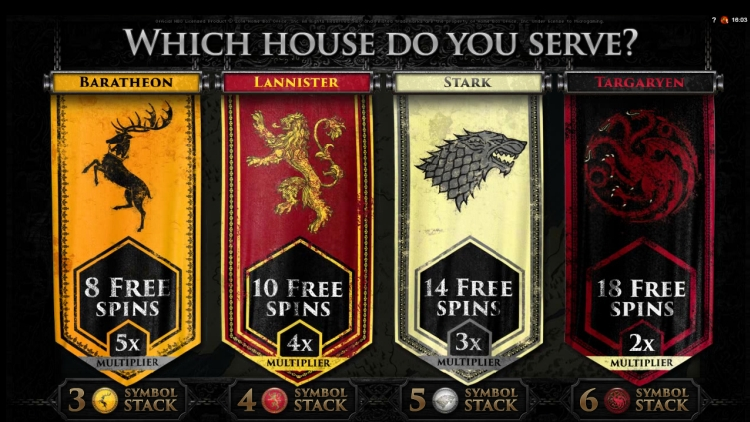 Game of Thrones microgaming slot bonus