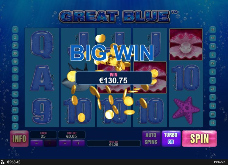 Great Blue slot review Playtech big win