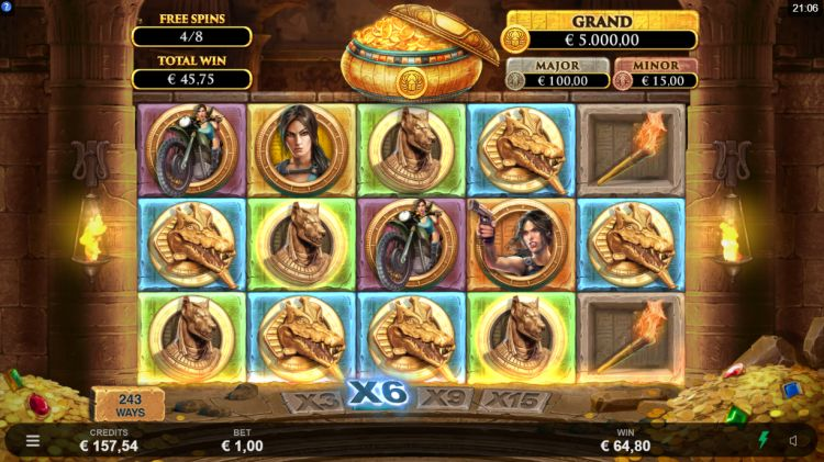 Lara Croft temples and tombs microgaming free spins win 2