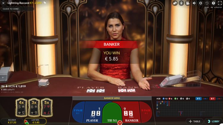 Lightning Baccarat evolution gaming review win