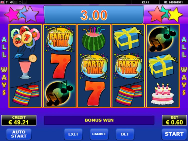 Party Time Amatic slot bonus trigger