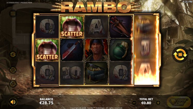 Rambo slot review Stakelogic feature respin
