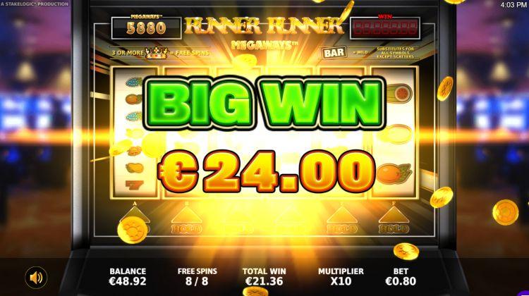 Runner Runner Megaways bonus big win