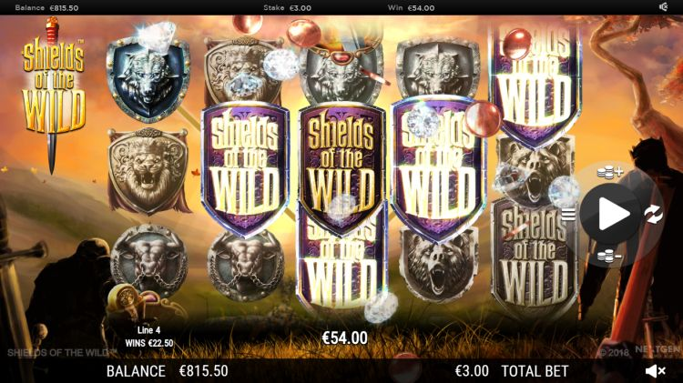 Shields of the wild slot review wall feature