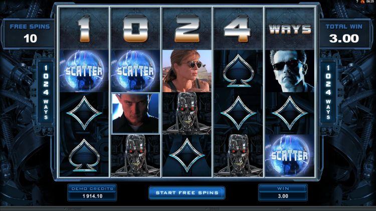 Terminator 2 microgaming free spins bonus