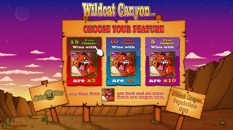 Wildcat canyon slot review bonus